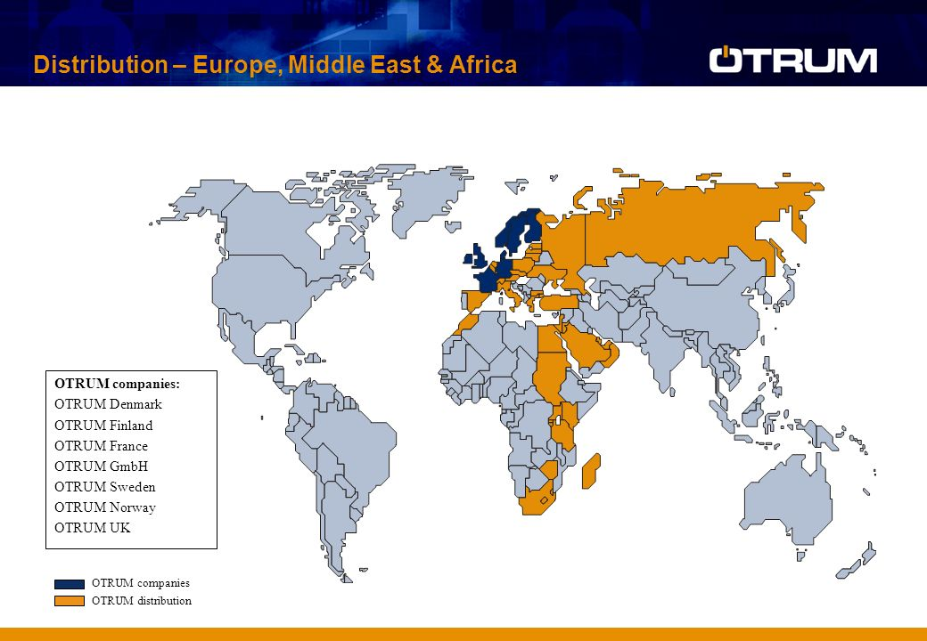 OTRUM companies: OTRUM Denmark OTRUM Finland OTRUM France OTRUM GmbH OTRUM Sweden OTRUM Norway OTRUM UK OTRUM companies OTRUM distribution Distribution – Europe, Middle East & Africa