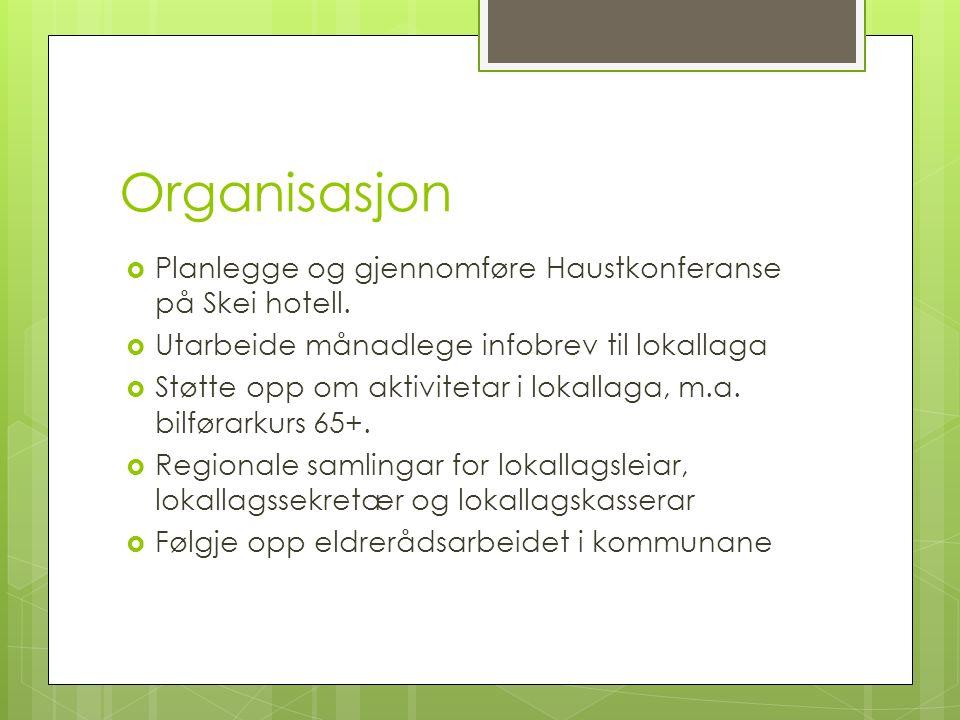 Organisasjon  Planlegge og gjennomføre Haustkonferanse på Skei hotell.