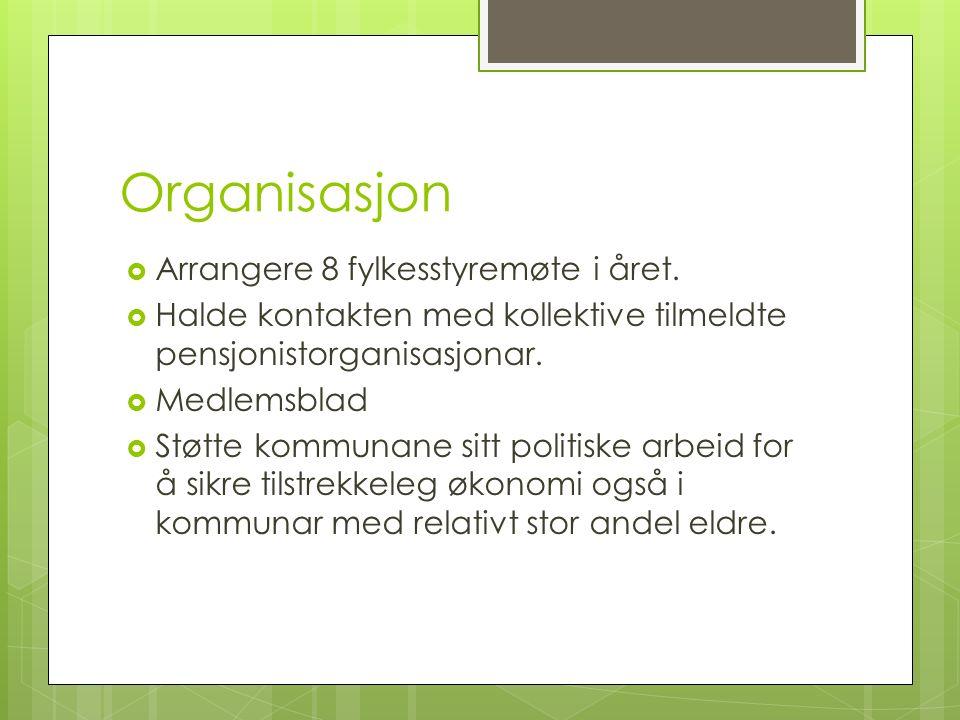 Organisasjon  Arrangere 8 fylkesstyremøte i året.