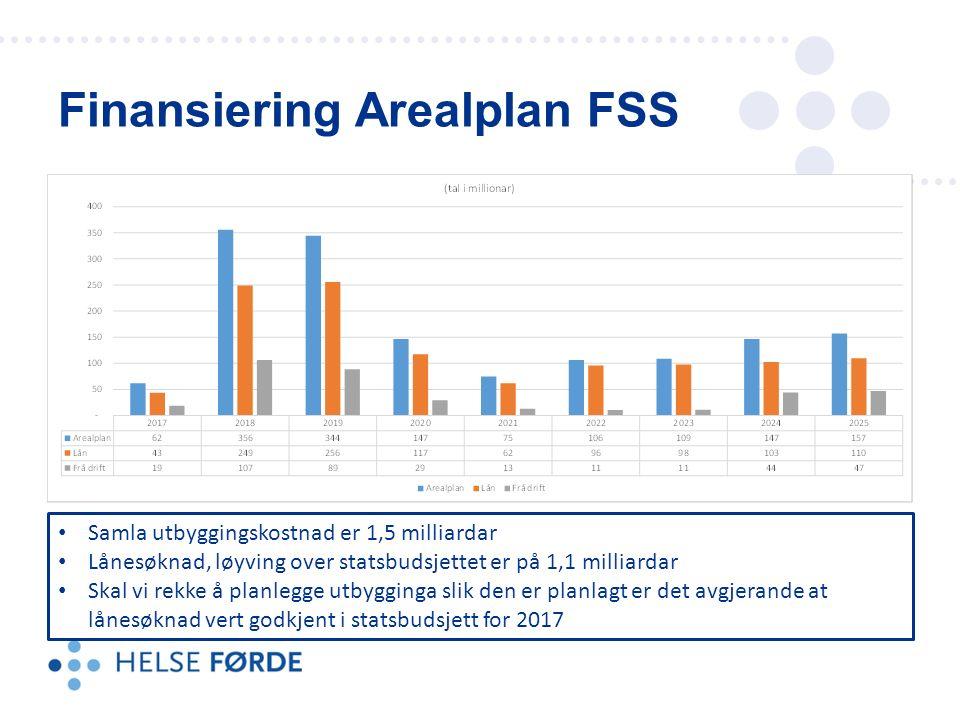 Finansiering Arealplan FSS Samla utbyggingskostnad er 1,5 milliardar Lånesøknad, løyving over statsbudsjettet er på 1,1 milliardar Skal vi rekke å planlegge utbygginga slik den er planlagt er det avgjerande at lånesøknad vert godkjent i statsbudsjett for 2017