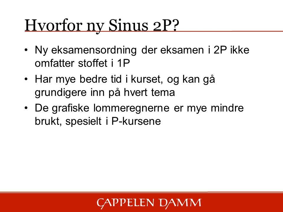 Ny eksamensordning der eksamen i 2P ikke omfatter stoffet i 1P Har mye bedre tid i kurset, og kan gå grundigere inn på hvert tema De grafiske lommeregnerne er mye mindre brukt, spesielt i P-kursene Hvorfor ny Sinus 2P?