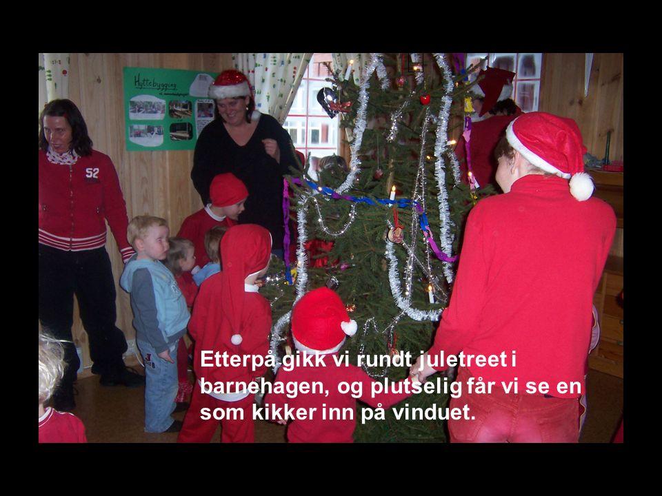 Etterpå gikk vi rundt juletreet i barnehagen, og plutselig får vi se en som kikker inn på vinduet.