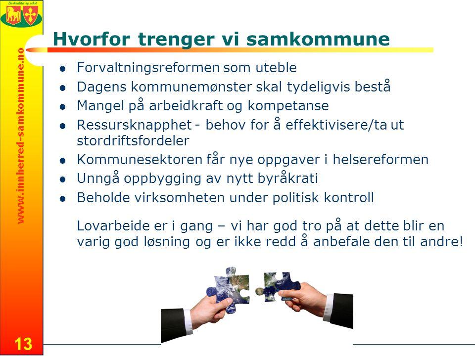 www.innherred-samkommune.no 13 Hvorfor trenger vi samkommune Forvaltningsreformen som uteble Dagens kommunemønster skal tydeligvis bestå Mangel på arb