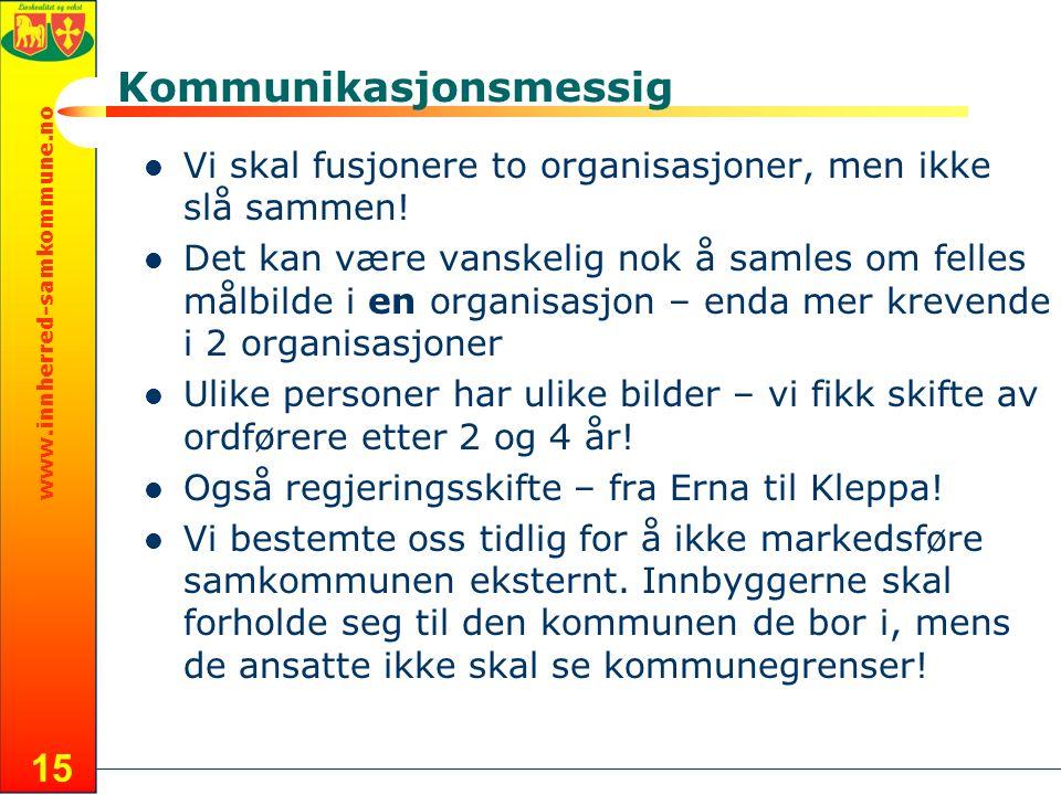 www.innherred-samkommune.no 15 Kommunikasjonsmessig Vi skal fusjonere to organisasjoner, men ikke slå sammen.