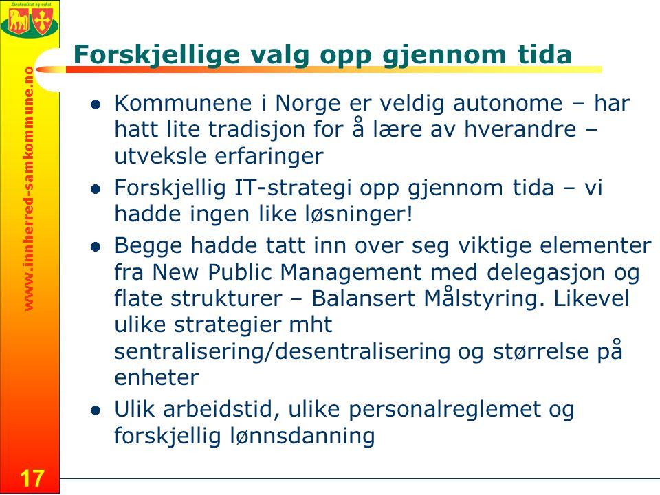 www.innherred-samkommune.no 17 Forskjellige valg opp gjennom tida Kommunene i Norge er veldig autonome – har hatt lite tradisjon for å lære av hverandre – utveksle erfaringer Forskjellig IT-strategi opp gjennom tida – vi hadde ingen like løsninger.
