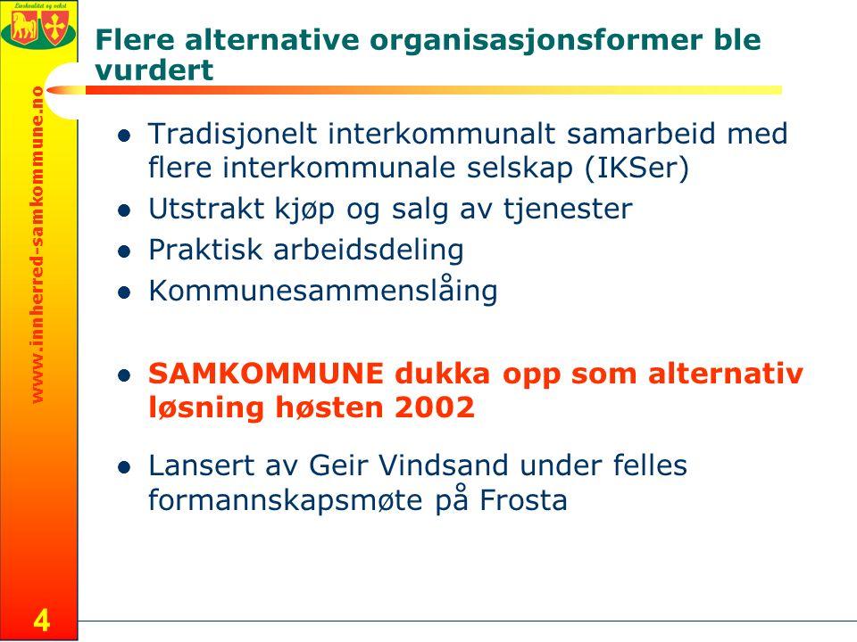 www.innherred-samkommune.no 4 Flere alternative organisasjonsformer ble vurdert Tradisjonelt interkommunalt samarbeid med flere interkommunale selskap
