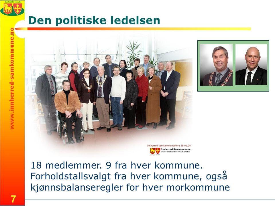 www.innherred-samkommune.no 7 Den politiske ledelsen 18 medlemmer. 9 fra hver kommune. Forholdstallsvalgt fra hver kommune, også kjønnsbalanseregler f