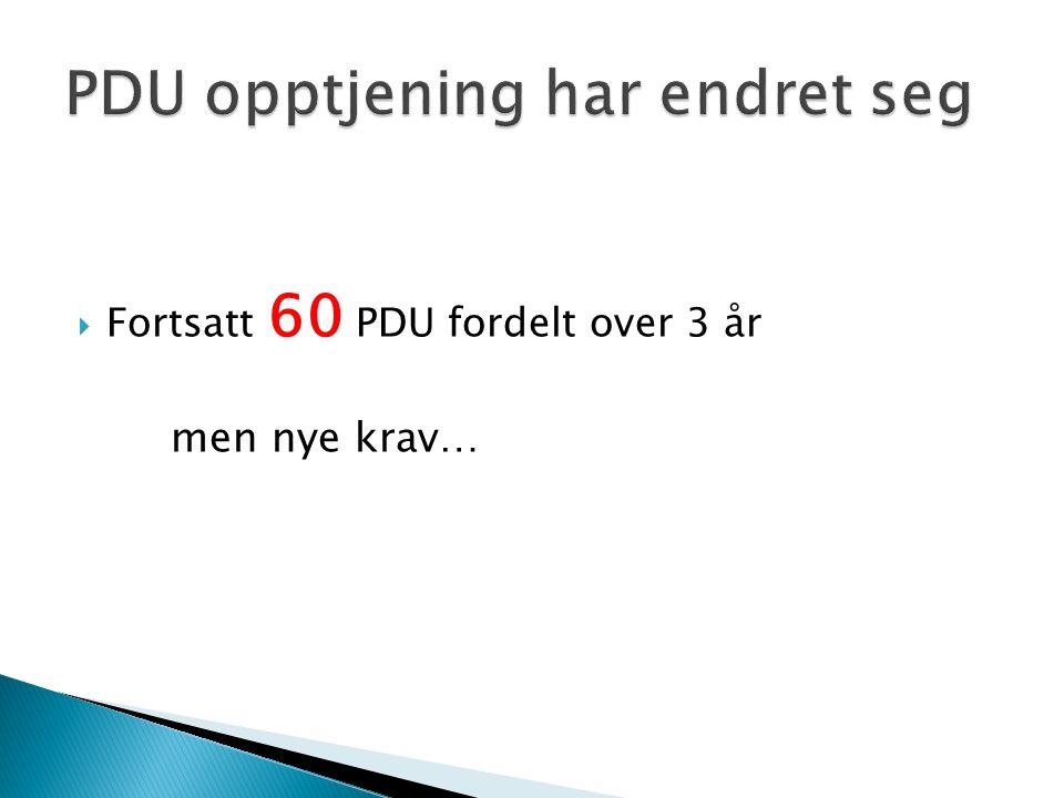  Fortsatt 60 PDU fordelt over 3 år men nye krav…