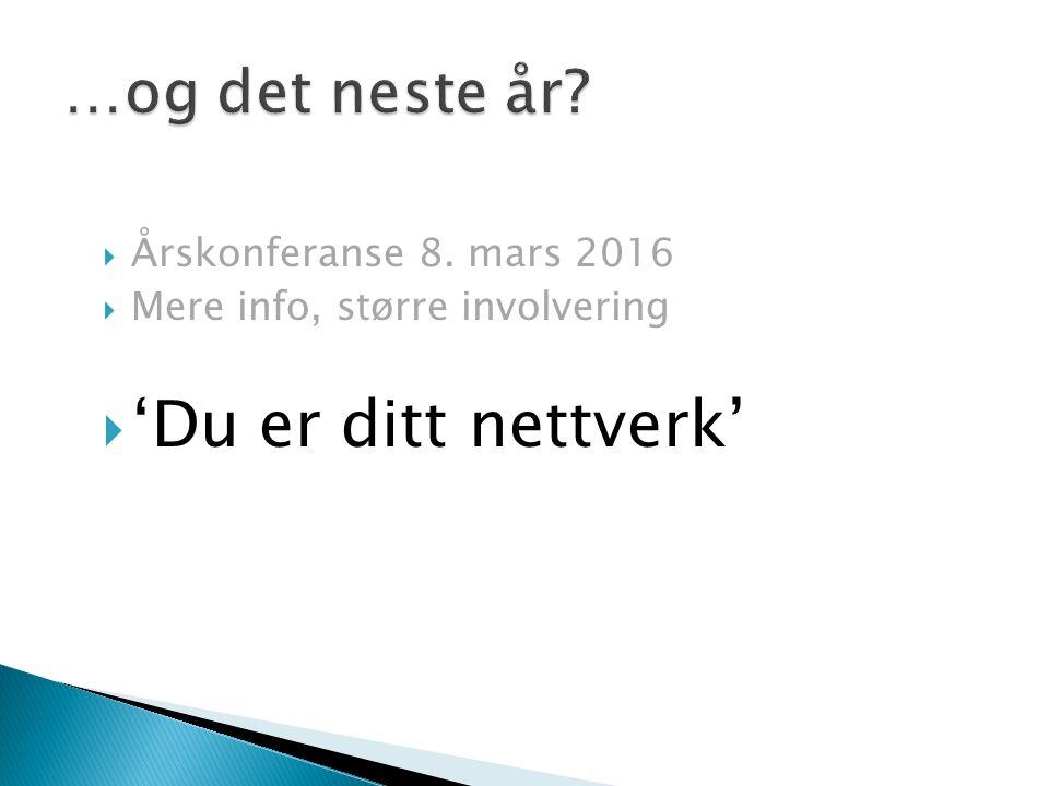  Årskonferanse 8. mars 2016  Mere info, større involvering  'Du er ditt nettverk'