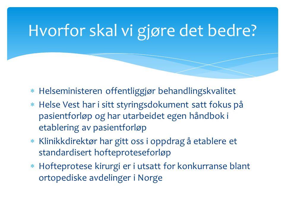  Helseministeren offentliggjør behandlingskvalitet  Helse Vest har i sitt styringsdokument satt fokus på pasientforløp og har utarbeidet egen håndbok i etablering av pasientforløp  Klinikkdirektør har gitt oss i oppdrag å etablere et standardisert hofteproteseforløp  Hofteprotese kirurgi er i utsatt for konkurranse blant ortopediske avdelinger i Norge Hvorfor skal vi gjøre det bedre