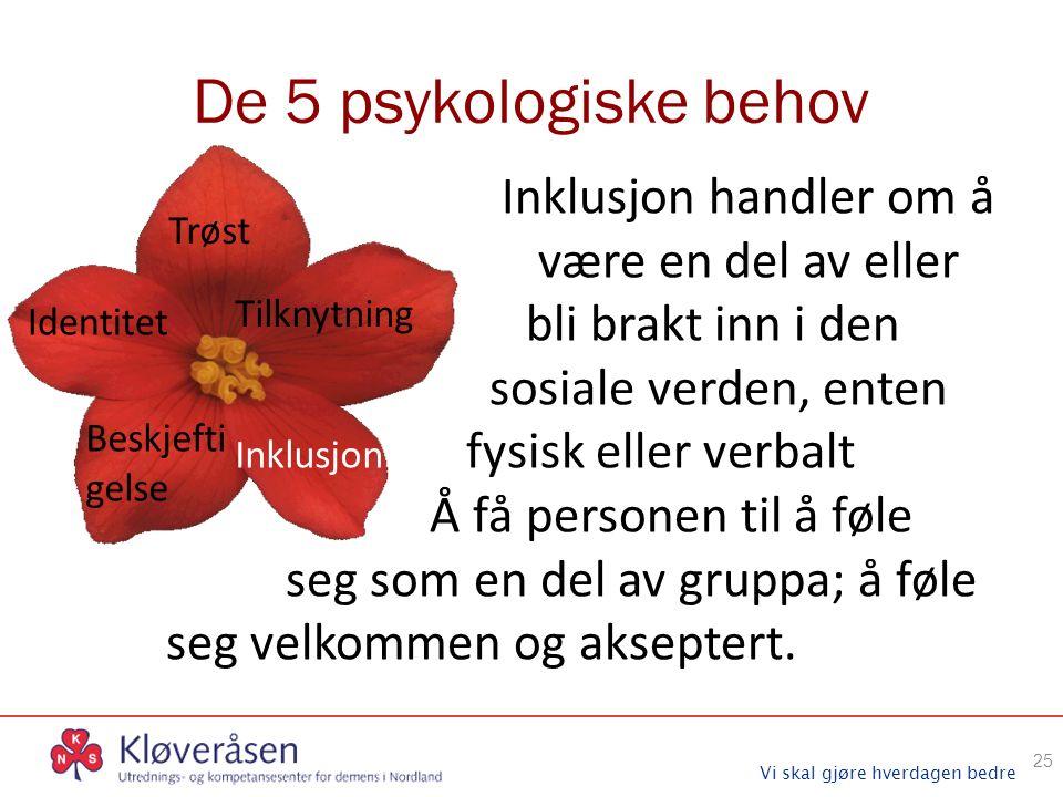 Vi skal gjøre hverdagen bedre De 5 psykologiske behov 25 Trøst Identitet Tilknytning Beskjefti gelse Inklusjon Inklusjon handler om å være en del av e