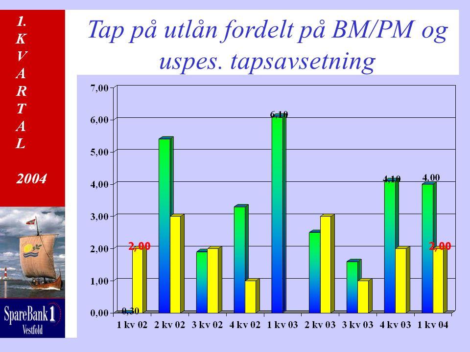 Tap på utlån fordelt på BM/PM og uspes. tapsavsetning