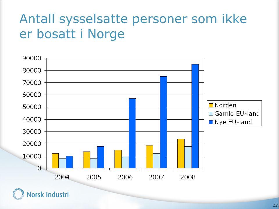 13 Antall sysselsatte personer som ikke er bosatt i Norge