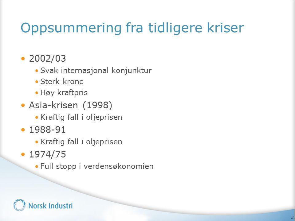3 Oppsummering fra tidligere kriser 2002/03 Svak internasjonal konjunktur Sterk krone Høy kraftpris Asia-krisen (1998) Kraftig fall i oljeprisen 1988-