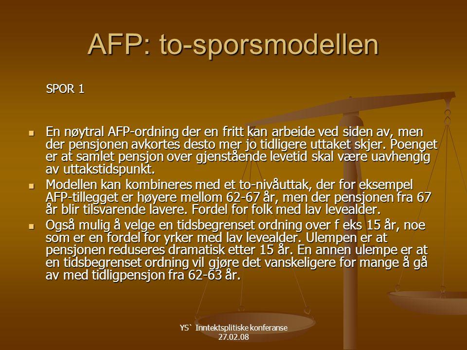 YS` Inntektsplitiske konferanse 27.02.08 AFP: to-sporsmodellen SPOR 1 SPOR 1 En nøytral AFP-ordning der en fritt kan arbeide ved siden av, men der pensjonen avkortes desto mer jo tidligere uttaket skjer.
