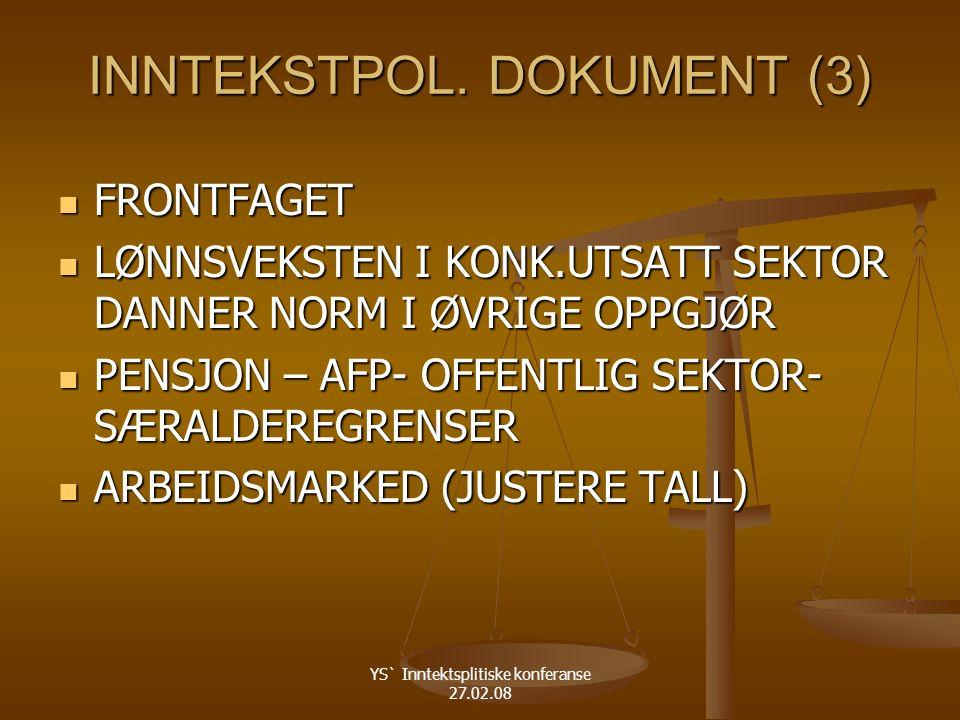YS` Inntektsplitiske konferanse 27.02.08 INNTEKSTPOL.