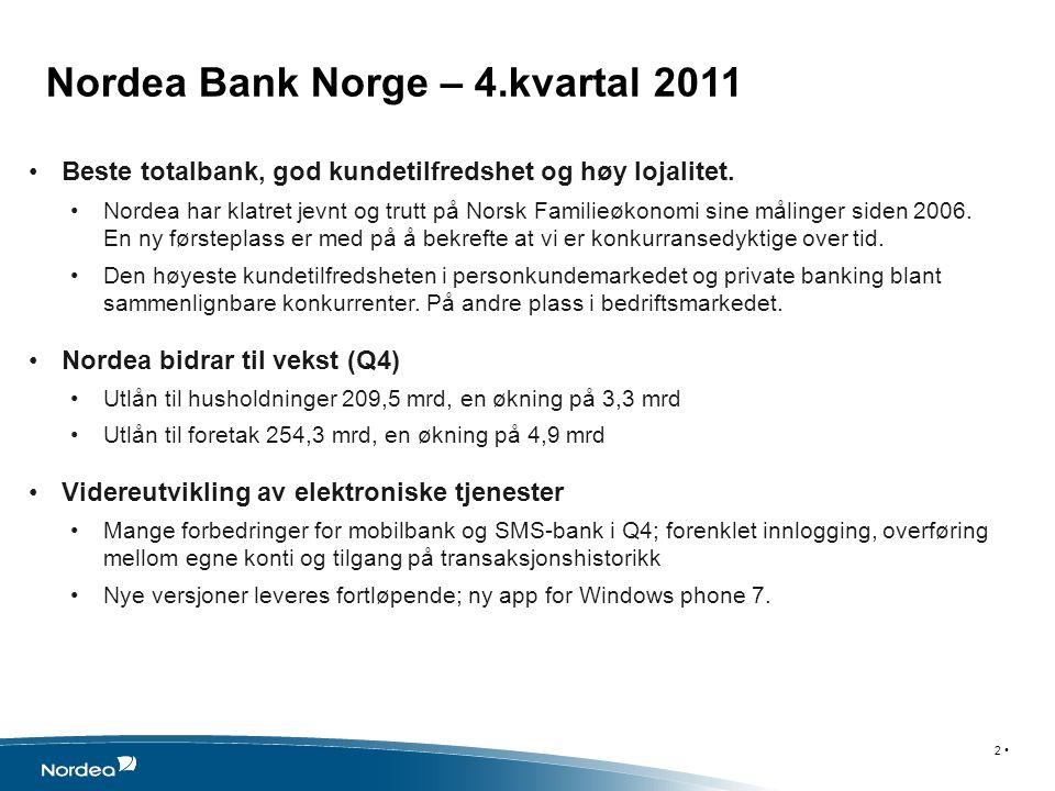Nordea Bank Norge – 4.kvartal 2011 Beste totalbank, god kundetilfredshet og høy lojalitet.