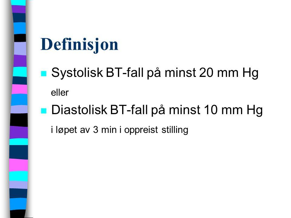 Definisjon n Systolisk BT-fall på minst 20 mm Hg eller n Diastolisk BT-fall på minst 10 mm Hg i løpet av 3 min i oppreist stilling