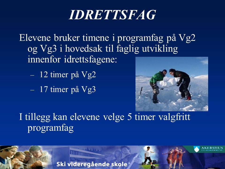 IDRETTSFAG Elevene bruker timene i programfag på Vg2 og Vg3 i hovedsak til faglig utvikling innenfor idrettsfagene: – 12 timer på Vg2 – 17 timer på Vg3 I tillegg kan elevene velge 5 timer valgfritt programfag