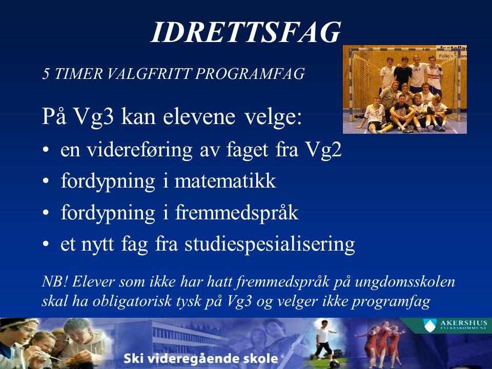 IDRETTSFAG 5 TIMER VALGFRITT PROGRAMFAG På Vg3 kan elevene velge: en videreføring av faget fra Vg2 fordypning i matematikk fordypning i fremmedspråk et nytt fag fra studiespesialisering NB.