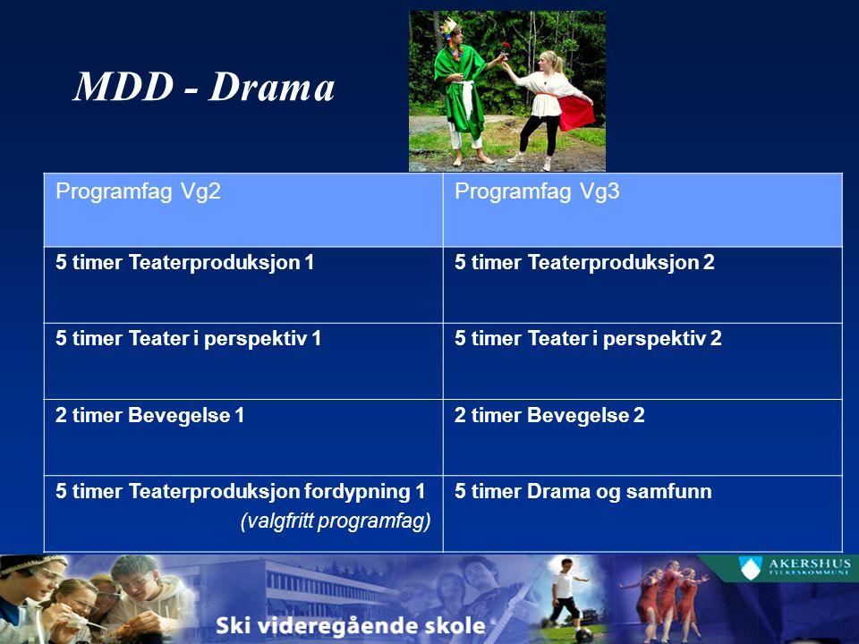 MDD - Drama Programfag Vg2Programfag Vg3 5 timer Teaterproduksjon 15 timer Teaterproduksjon 2 5 timer Teater i perspektiv 15 timer Teater i perspektiv 2 2 timer Bevegelse 12 timer Bevegelse 2 5 timer Teaterproduksjon fordypning 1 (valgfritt programfag) 5 timer Drama og samfunn