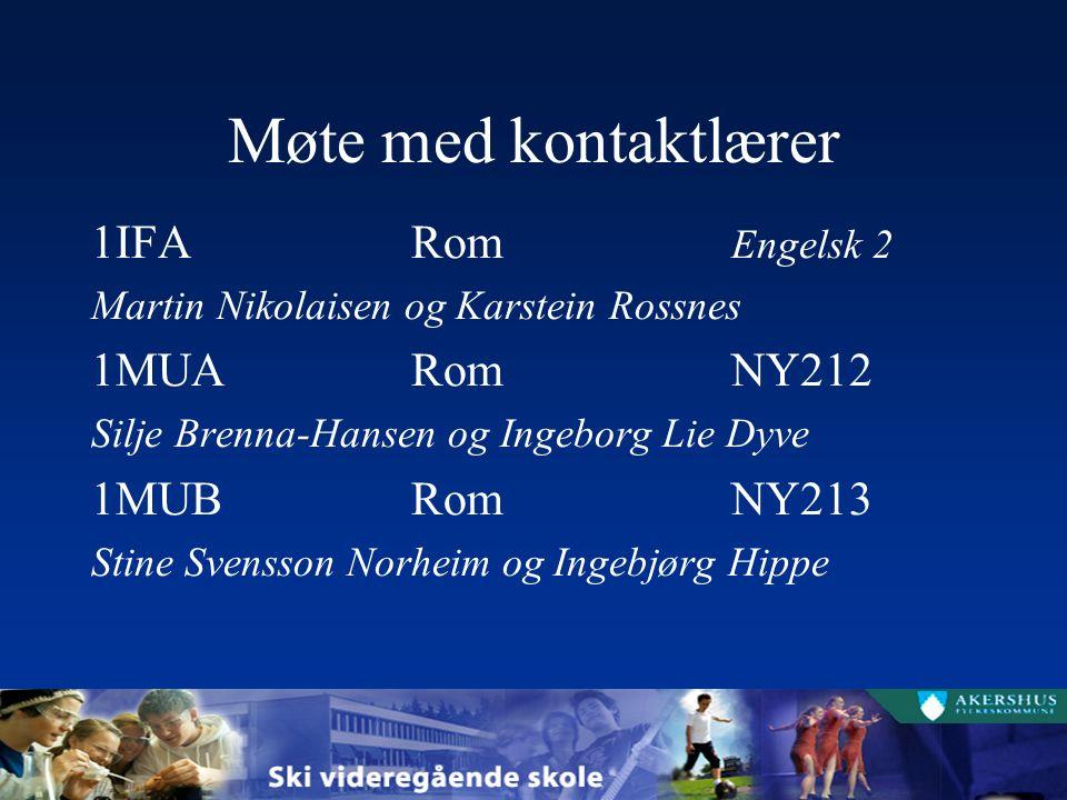 Møte med kontaktlærer 1IFARom Engelsk 2 Martin Nikolaisen og Karstein Rossnes 1MUARomNY212 Silje Brenna-Hansen og Ingeborg Lie Dyve 1MUBRomNY213 Stine Svensson Norheim og Ingebjørg Hippe