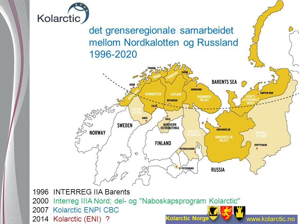 det grenseregionale samarbeidet mellom Nordkalotten og Russland 1996-2020 1996 INTERREG IIA Barents 2000 Interreg IIIA Nord; del- og Naboskapsprogram Kolarctic 2007 Kolarctic ENPI CBC 2014 Kolarctic (ENI)