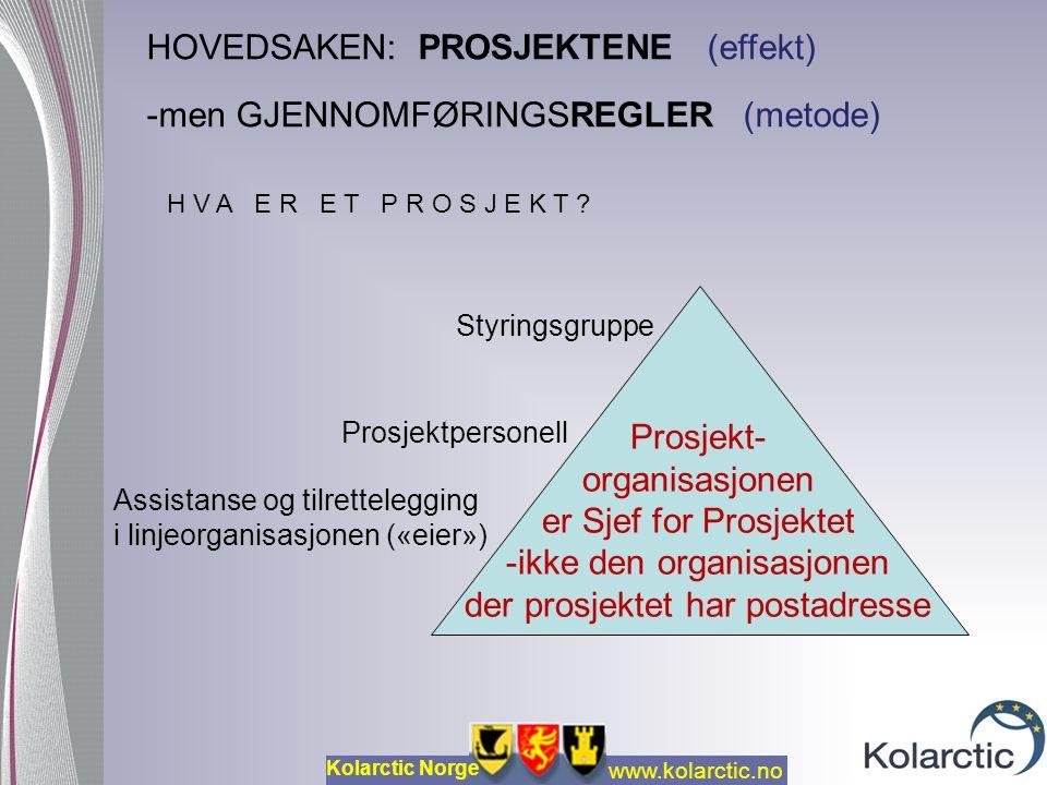 www.kolarctic.no Kolarctic Norge HOVEDSAKEN: PROSJEKTENE (effekt) -men GJENNOMFØRINGSREGLER (metode) Prosjekt- organisasjonen er Sjef for Prosjektet -ikke den organisasjonen der prosjektet har postadresse Assistanse og tilrettelegging i linjeorganisasjonen («eier») Styringsgruppe Prosjektpersonell H V A E R E T P R O S J E K T