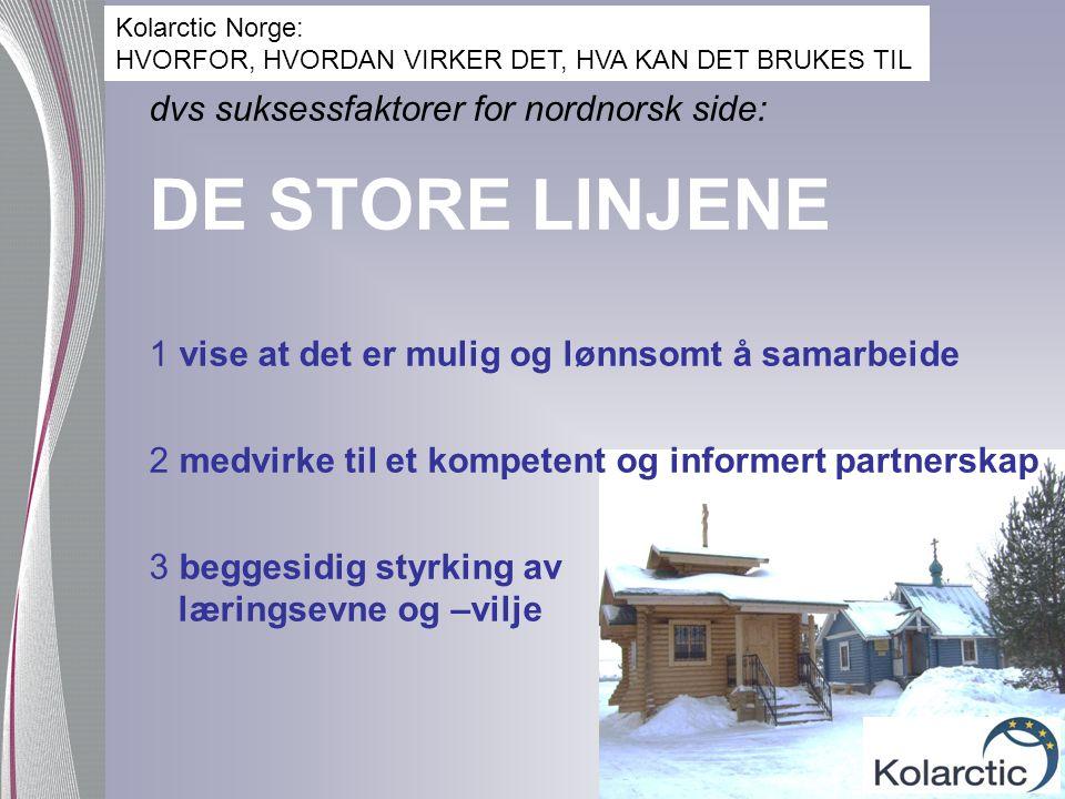 dvs suksessfaktorer for nordnorsk side: DE STORE LINJENE 1 vise at det er mulig og lønnsomt å samarbeide 2 medvirke til et kompetent og informert part