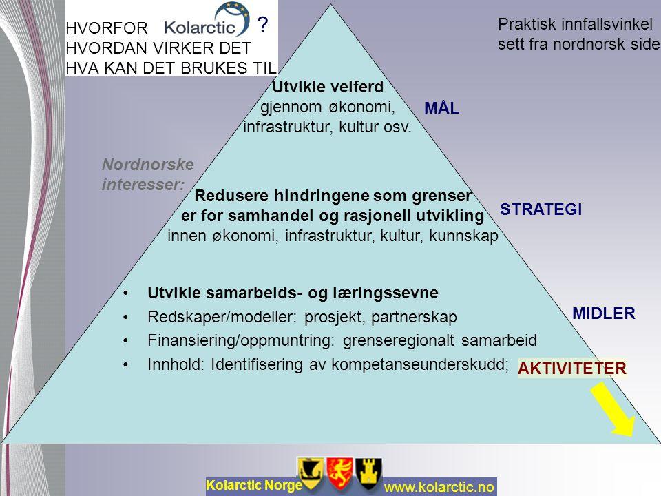 HVORFOR HVORDAN VIRKER DET HVA KAN DET BRUKES TIL Utvikle samarbeids- og læringssevne Redskaper/modeller: prosjekt, partnerskap Finansiering/oppmuntring: grenseregionalt samarbeid Innhold: Identifisering av kompetanseunderskudd; .