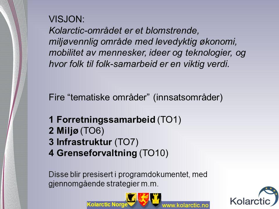 www.kolarctic.no Kolarctic Norge HOVEDSAKEN: PROSJEKTENE (effekt) -men GJENNOMFØRINGSREGLER (metode) Prosjekt- organisasjonen er Sjef for Prosjektet -ikke den organisasjonen der prosjektet har postadresse Assistanse og tilrettelegging i linjeorganisasjonen («eier») Styringsgruppe Prosjektpersonell H V A E R E T P R O S J E K T ?
