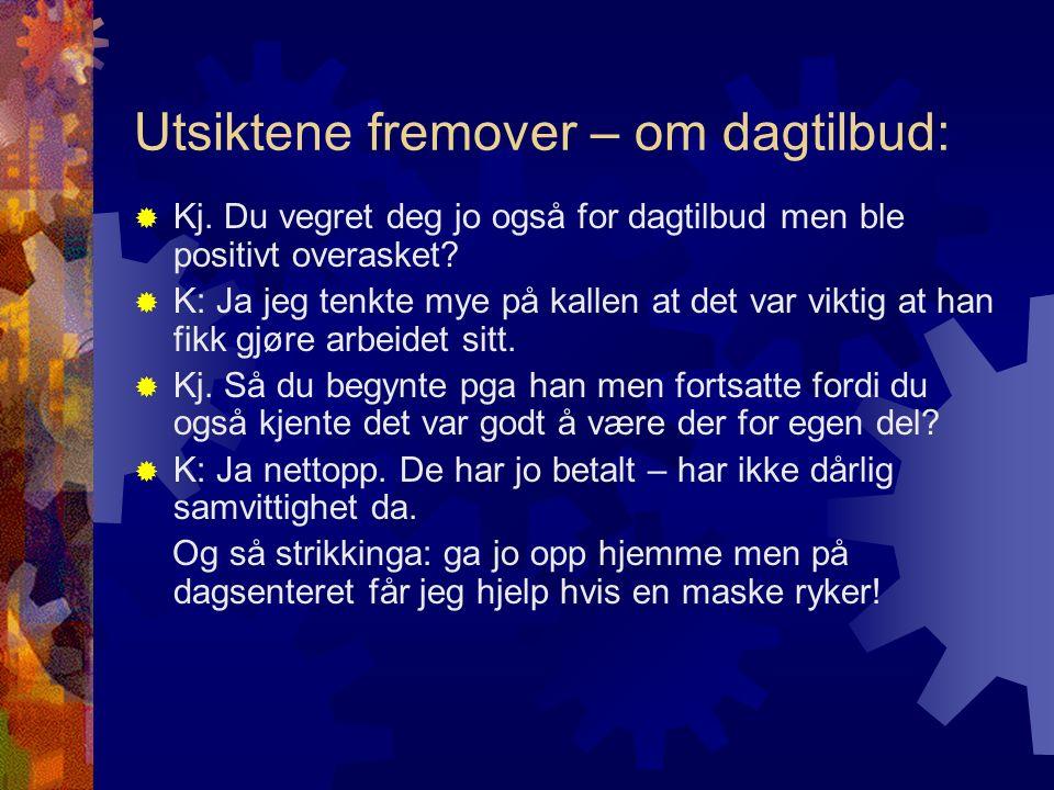 Utsiktene fremover – om dagtilbud:  Kj.