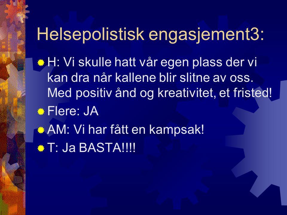 Helsepolistisk engasjement3:  H: Vi skulle hatt vår egen plass der vi kan dra når kallene blir slitne av oss. Med positiv ånd og kreativitet, et fris