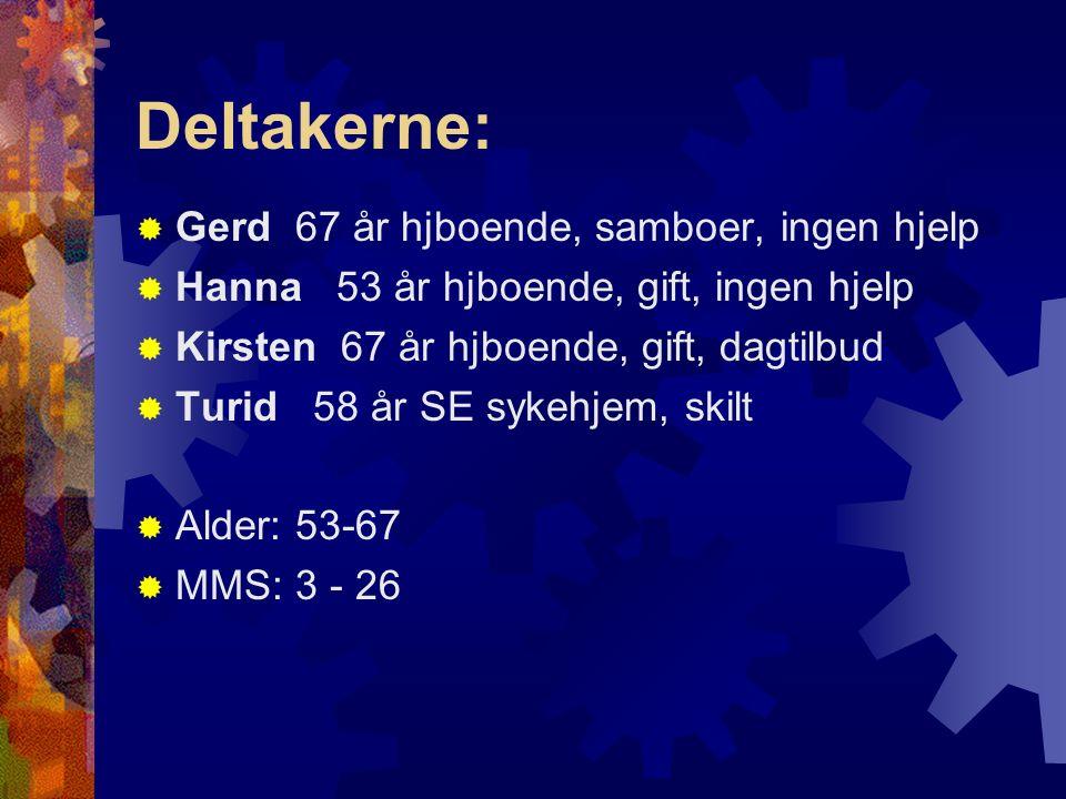 Deltakerne:  Gerd 67 år hjboende, samboer, ingen hjelp  Hanna 53 år hjboende, gift, ingen hjelp  Kirsten 67 år hjboende, gift, dagtilbud  Turid 58 år SE sykehjem, skilt  Alder: 53-67  MMS: 3 - 26