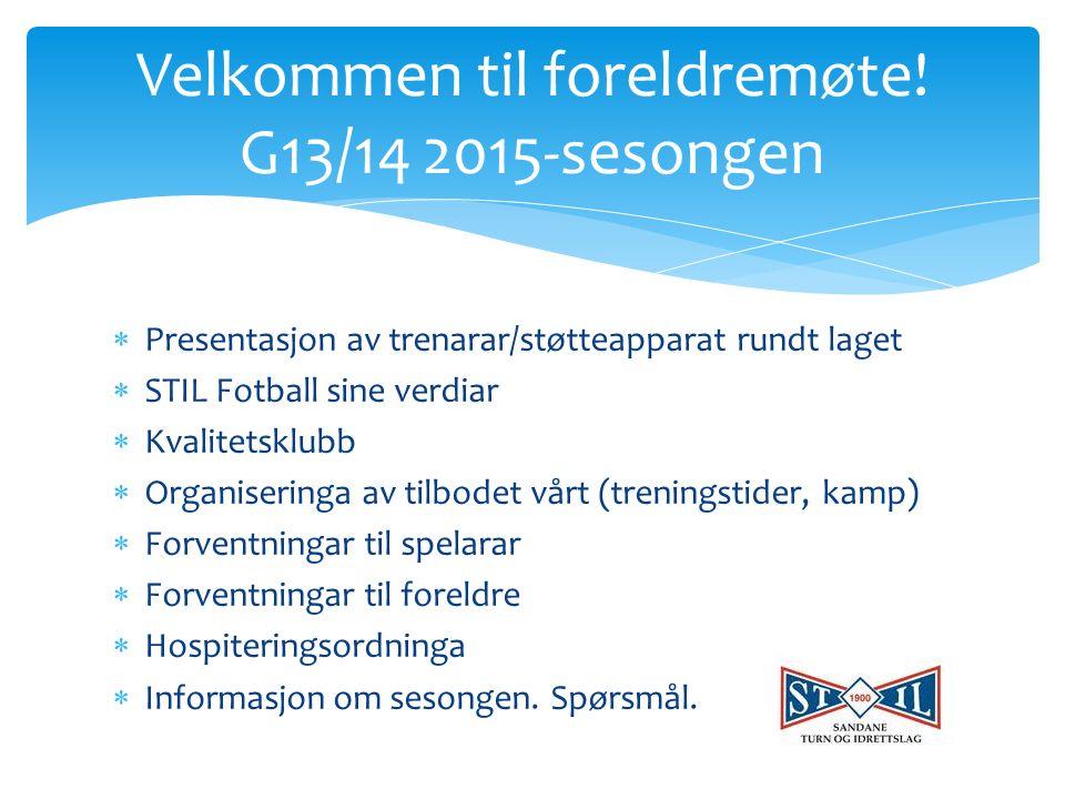  Presentasjon av trenarar/støtteapparat rundt laget  STIL Fotball sine verdiar  Kvalitetsklubb  Organiseringa av tilbodet vårt (treningstider, kamp)  Forventningar til spelarar  Forventningar til foreldre  Hospiteringsordninga  Informasjon om sesongen.