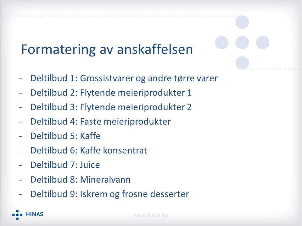 Formatering av anskaffelsen -Deltilbud 1: Grossistvarer og andre tørre varer -Deltilbud 2: Flytende meieriprodukter 1 -Deltilbud 3: Flytende meieripro