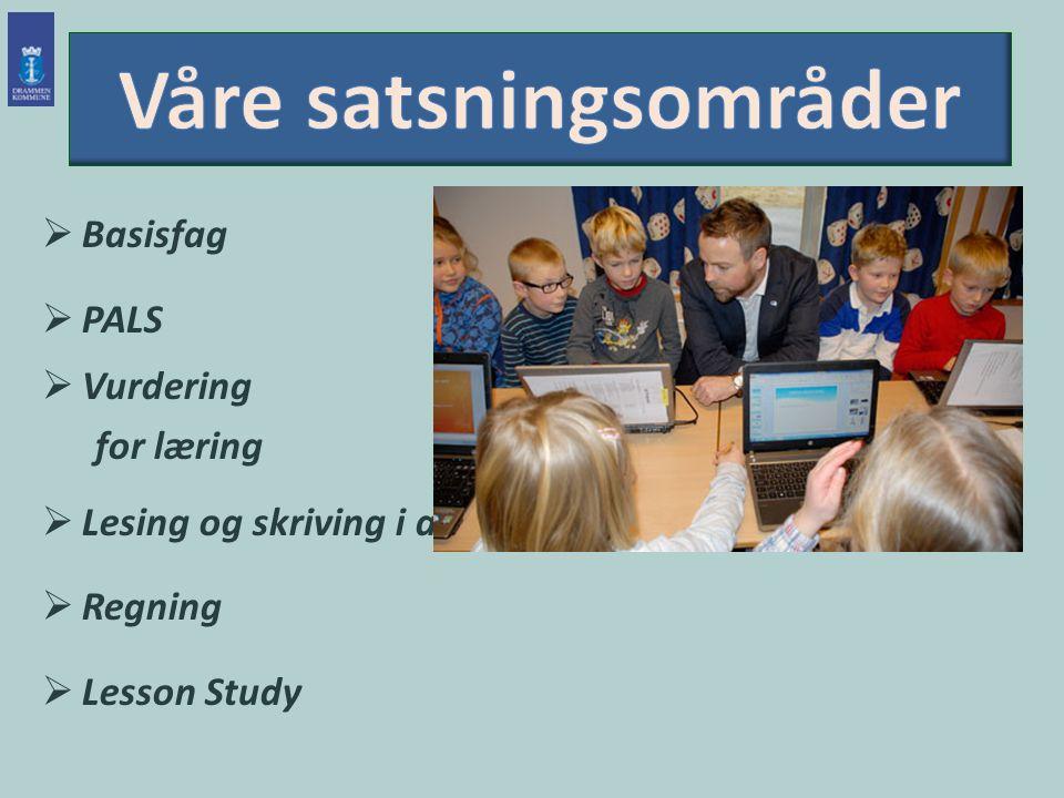  Basisfag  PALS  Vurdering for læring  Lesing og skriving i alle fag  Regning  Lesson Study
