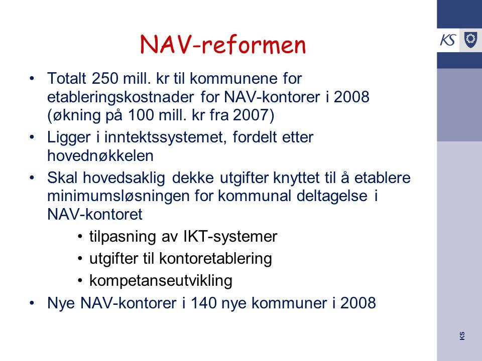 KS NAV-reformen Totalt 250 mill. kr til kommunene for etableringskostnader for NAV-kontorer i 2008 (økning på 100 mill. kr fra 2007) Ligger i inntekts
