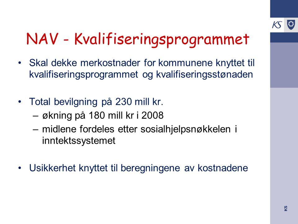 KS NAV - Kvalifiseringsprogrammet Skal dekke merkostnader for kommunene knyttet til kvalifiseringsprogrammet og kvalifiseringsstønaden Total bevilgnin