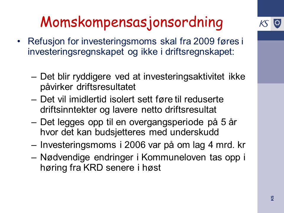 KS Momskompensasjonsordning Refusjon for investeringsmoms skal fra 2009 føres i investeringsregnskapet og ikke i driftsregnskapet: –Det blir ryddigere