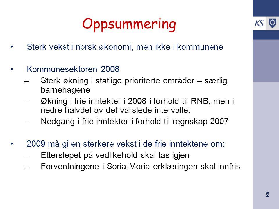KS Oppsummering Sterk vekst i norsk økonomi, men ikke i kommunene Kommunesektoren 2008 –Sterk økning i statlige prioriterte områder – særlig barnehage