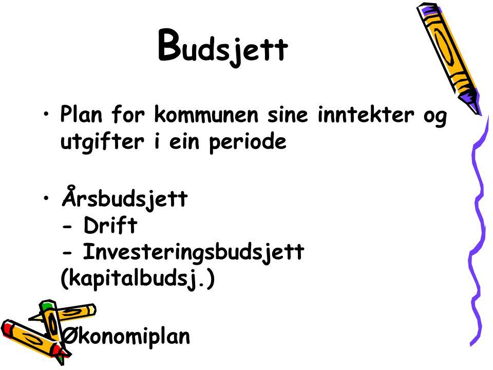 Plan for kommunen sine inntekter og utgifter i ein periode Årsbudsjett - Drift - Investeringsbudsjett (kapitalbudsj.) Økonomiplan B udsjett