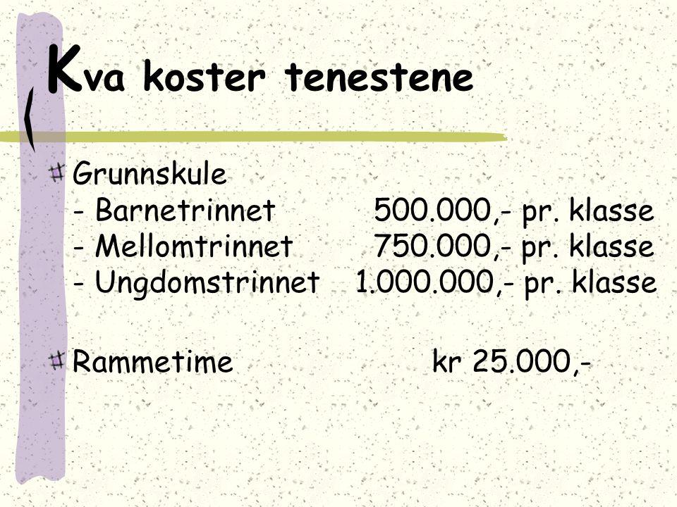 K va koster tenestene Grunnskule - Barnetrinnet 500.000,- pr. klasse - Mellomtrinnet 750.000,- pr. klasse - Ungdomstrinnet 1.000.000,- pr. klasse Ramm