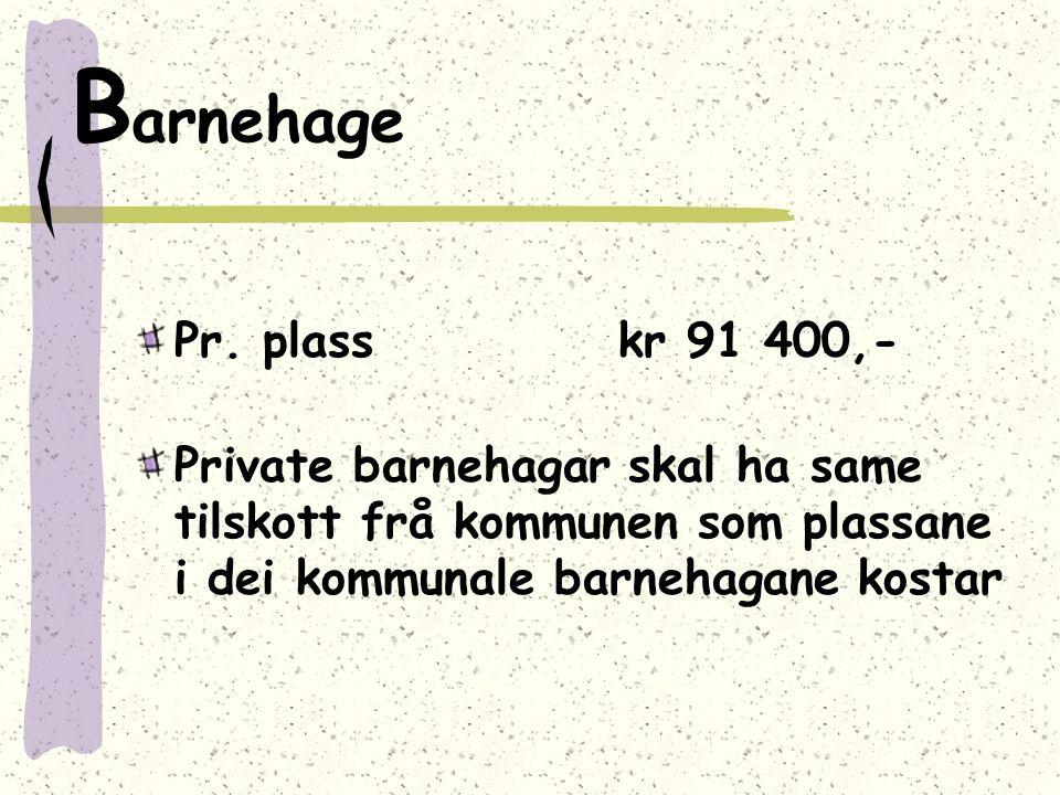 B arnehage Pr. plass kr 91 400,- Private barnehagar skal ha same tilskott frå kommunen som plassane i dei kommunale barnehagane kostar