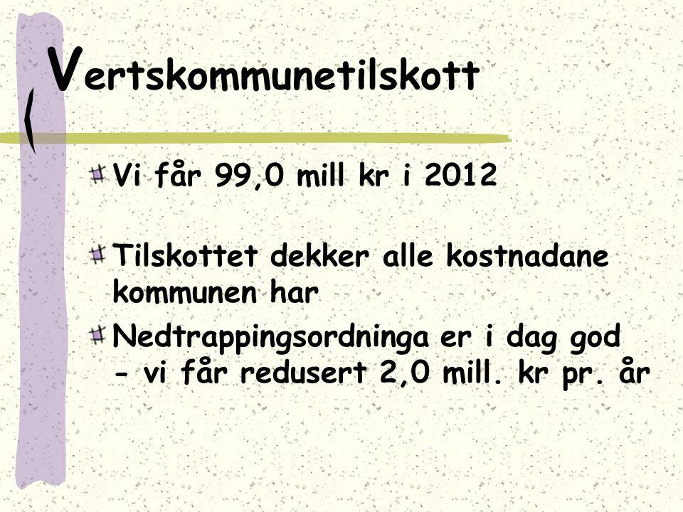 V ertskommunetilskott Vi får 99,0 mill kr i 2012 Tilskottet dekker alle kostnadane kommunen har Nedtrappingsordninga er i dag god - vi får redusert 2,0 mill.
