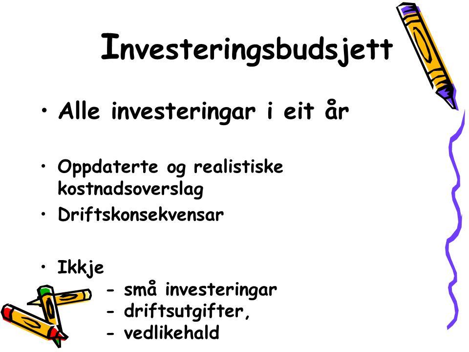I nvesteringsbudsjett Alle investeringar i eit år Oppdaterte og realistiske kostnadsoverslag Driftskonsekvensar Ikkje - små investeringar - driftsutgifter, - vedlikehald