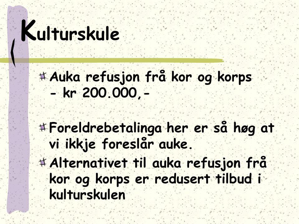K ulturskule Auka refusjon frå kor og korps - kr 200.000,- Foreldrebetalinga her er så høg at vi ikkje foreslår auke. Alternativet til auka refusjon f