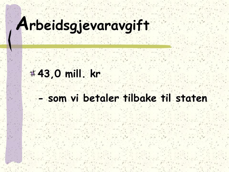 A rbeidsgjevaravgift 43,0 mill. kr - som vi betaler tilbake til staten