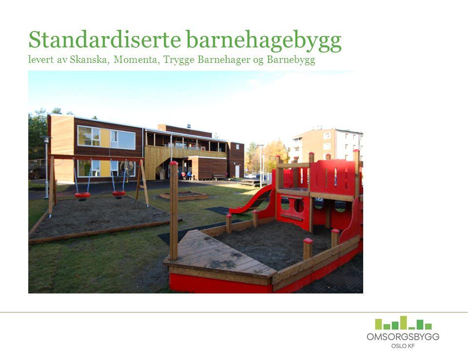 Standardiserte barnehagebygg levert av Skanska, Momenta, Trygge Barnehager og Barnebygg