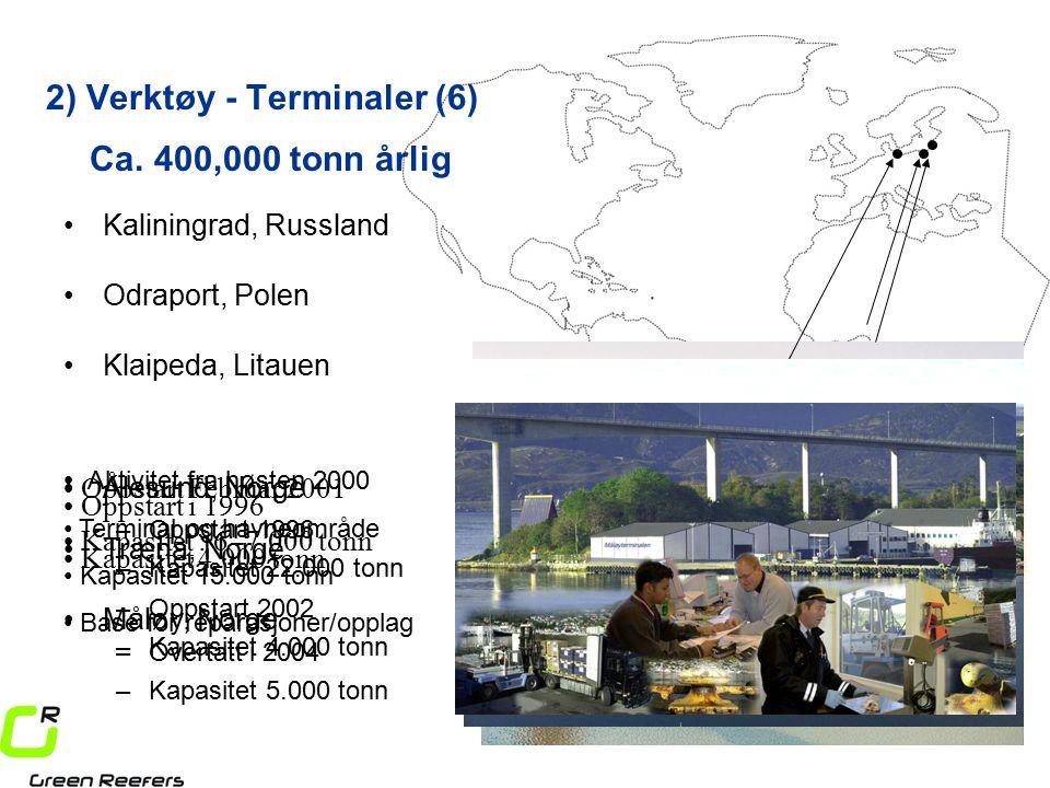 Måløy, Norge Træna, Norge –Oppstart 1996 –Kapasitet 22.000 tonn Oppstart i 1996 Kapasitet 4.000 tonn Aktivitet fra høsten 2000 Terminal og havneområde Kapasitet 15.000 tonn Base for reparasjoner/opplag –Oppstart 2002 –Kapasitet 4.000 tonn Oppstart Februar 2001 Kapasitet : 6 -7.000 tonn 2) Verktøy - Terminaler (6) Kaliningrad, Russland Odraport, Polen Ca.